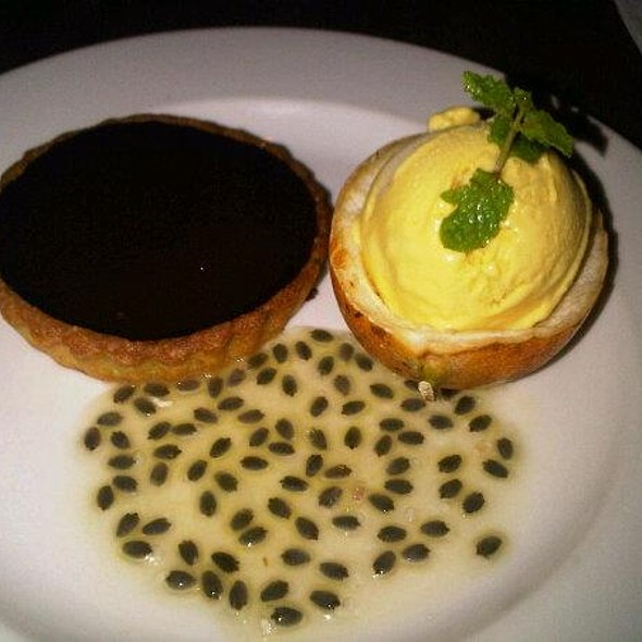 dark chocolate tart with fresh marquisa jelly @ Potato Head