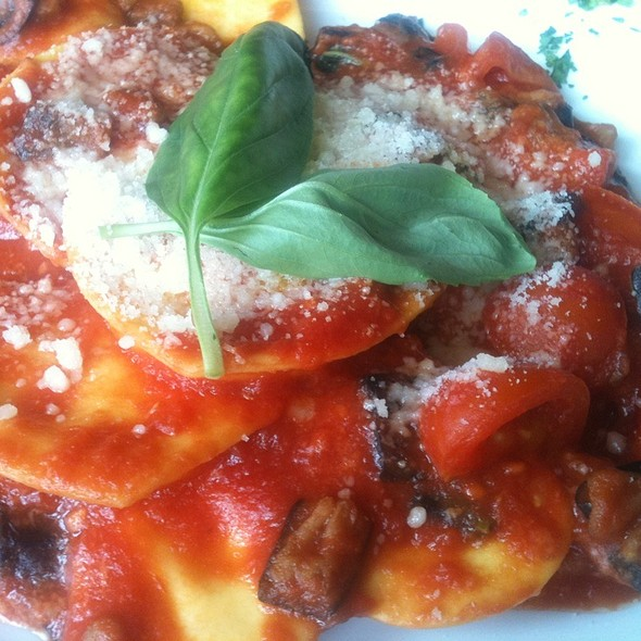 Heart Shaped Pasta Filled With Ricotta Cheese Mixed In An Egg Plant & Cherry Tomato Sauce @ L'Osteria