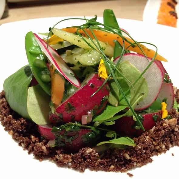 Spring Salad With Radish, Market Greens, & Pumpernickel Crumbs @ Rouge Tomate