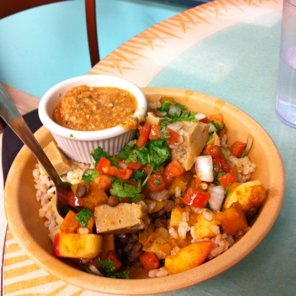 Fall Harvest Burrito Bowl with Pumpkin Salsa @ The Laughing Planet Cafe