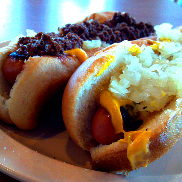 Hotdog with Cheese; Onion & Mustard @ Joey's Hot Dogs