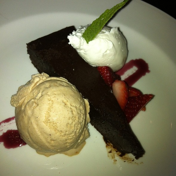 Flourless Chocolate Cake With Dense Whipped Cream And Cinnamon Gelato @ Alleia