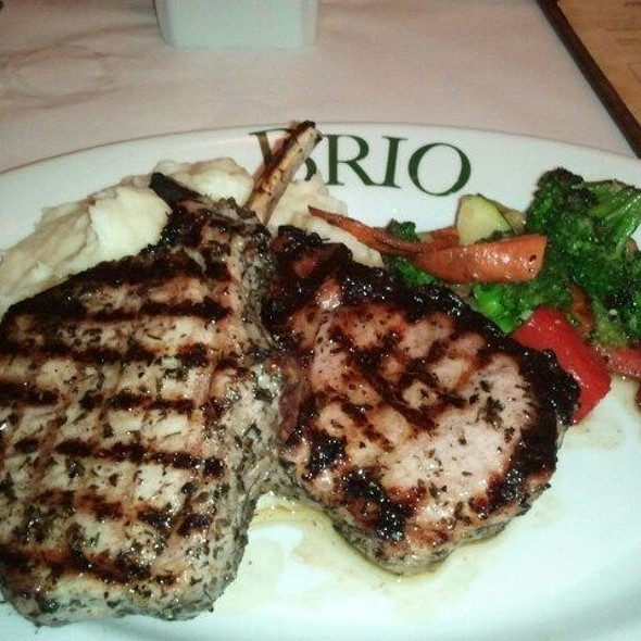Grilled Pork Chops W/ Steamed Veggies And Mashed Pototoes @ Brio Tuscan Grille