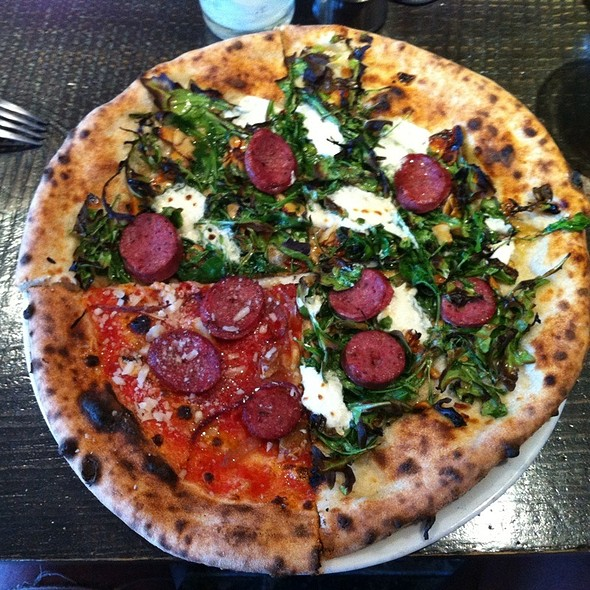 Pizza With Arugula, Candied Almonds & Chèvre @ Pizzicletta
