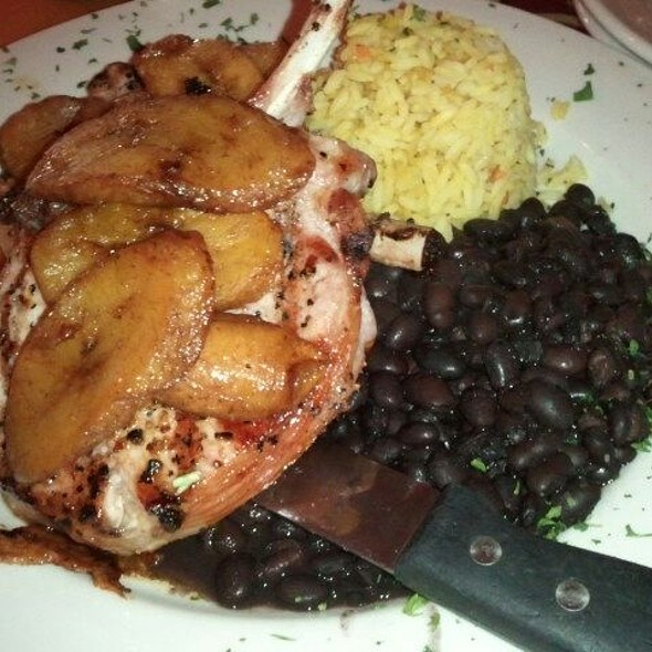 Grilled Pork Chops W/ Plantains, Black Beans, And Yellow Rice @ Kitchen 64