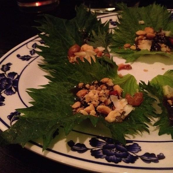 Perilla Leaf With Bacon Caramel And Shrimp  @ Talde