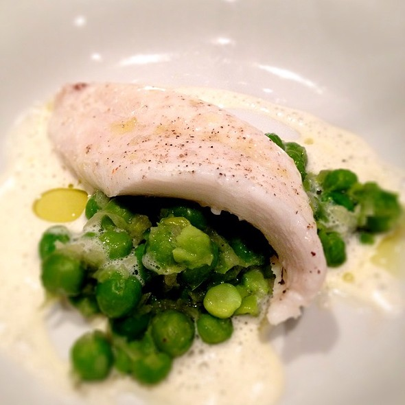 Poached Fillet Of John Dory W/Great Beans, New Onnions And Scallop Cream