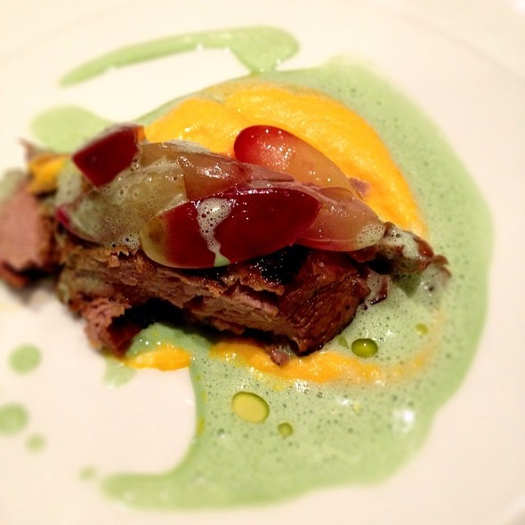 Braised Veal W/Carrot Mousseline, Grapes And Wild Garlic Cream