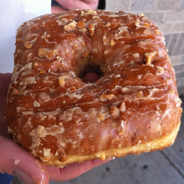 Peanut Butter Glazed Strawberry Jam Donut @ Doughnut Plant