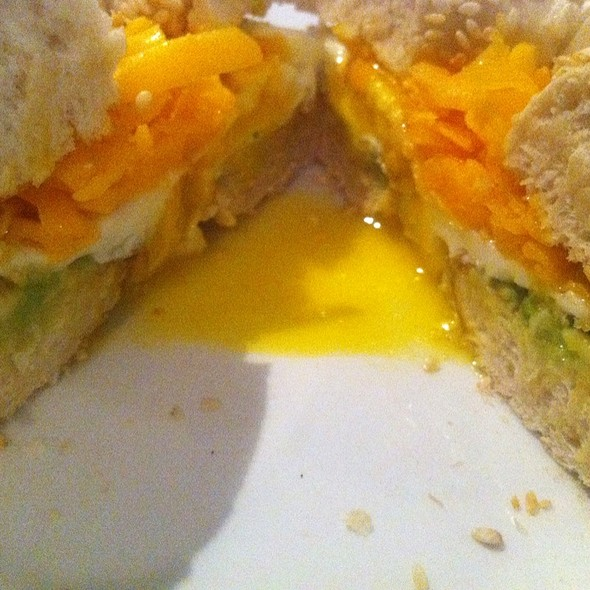 Bacon, Egg, Cheese And Avocado On Bagel @ Rustic Cosmo Cafe