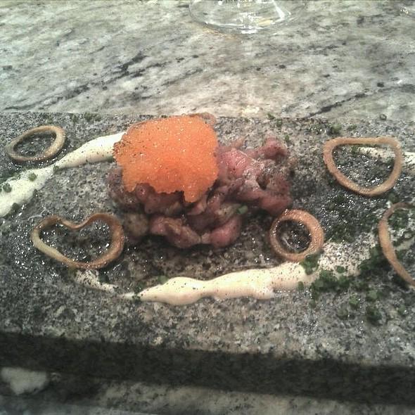 Coal Flammed Veal Tartar, Smoked Eel, Bleak Roe, Hay Ash @ Frantzén/Lindeberg