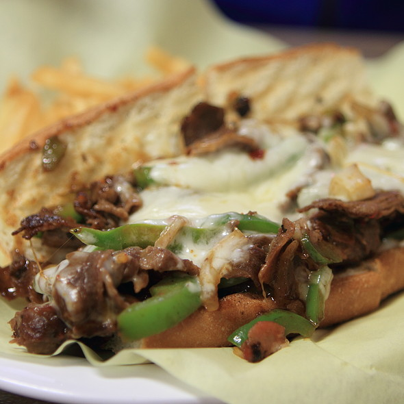 Mongolian beef cheesesteak @ HRD Coffee Shop