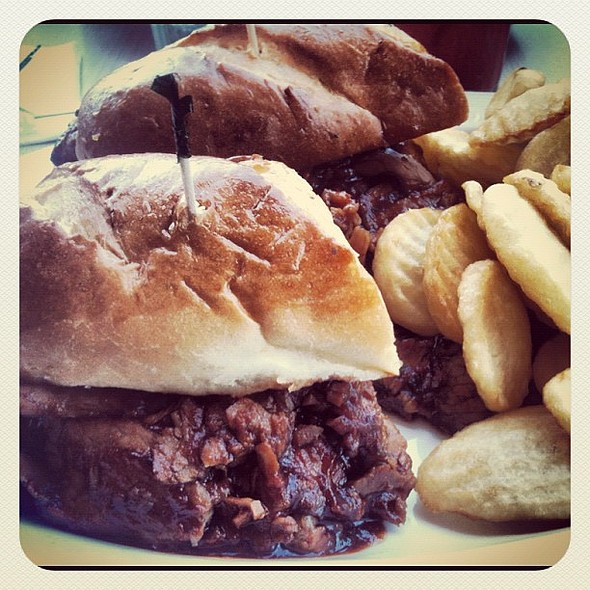 bbq beef brisket sandwich & cottage fries. the hidden bonus is all the extra meat  @ Sherman's Deli & Bakery