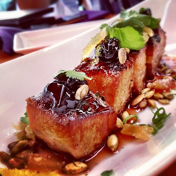 crispy pork belly w/pickled cherries, ginger, pumpkin seeds. @ Departure Restaurant & Lounge