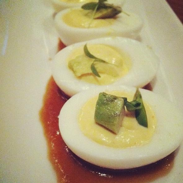 Avocado & Cilantro Deviled Eggs @ Square Peg