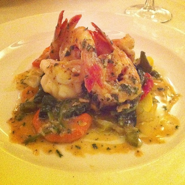 Jumbo Shrimp In A Bed Of Spinach @ Bice Restaurant