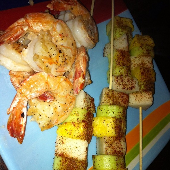 Texas Shrimp With Pineapple, Cucumber And Jicama Skewera Dusted With Chile And Jalapeno Powder @ Home