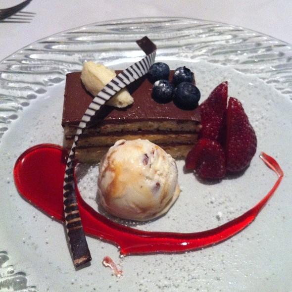 Dark chocolate and Almond layered cake with vanilla ice cream @ Lolo Dad's Cafe
