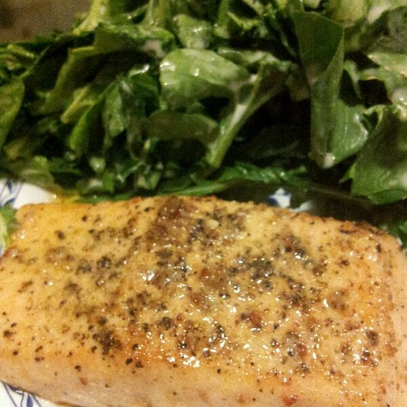 Salmon Steak With Blue Cheese Arugula Salad  @ Home