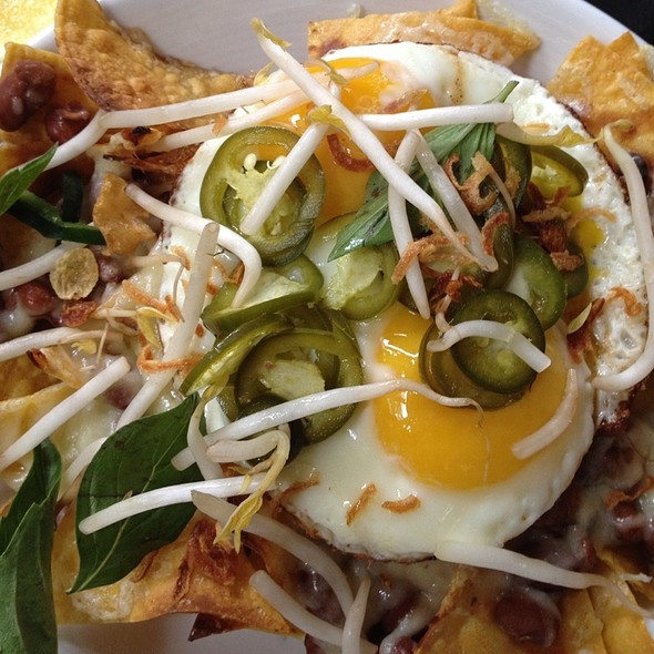 Fried Egg And Nachos With Pho Garnish @ No. 7