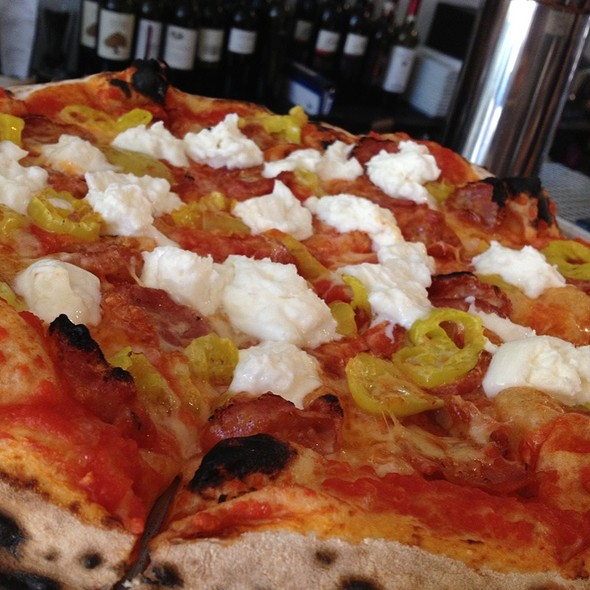 Sopressata Pizza W/ Burrata @ A Tavola Bar and Trattoria