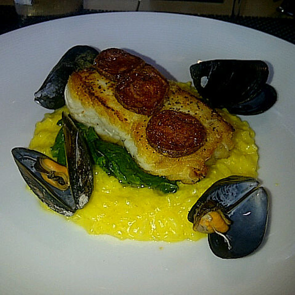 Sauteed Halibut Saffron Risotto Steamed Mussels Chorizo @ Cowboy Star Restaurant & Butcher Shop