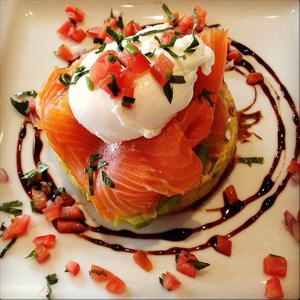 Zucchini And Sweet Corn Fritter With Smoked Salmon And Avocado @ The Peppermill Cafe