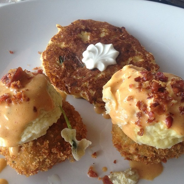 Eggs benedict with crab cakes @ South Congress Cafe