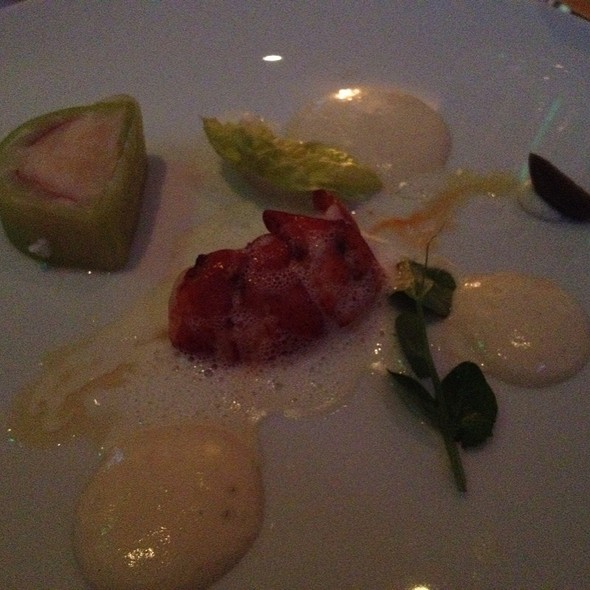 Casco Bay Lobster With White Asparagus And Banilla Terrine, Brown Butter Emulsion And April Almond @ L'Espalier