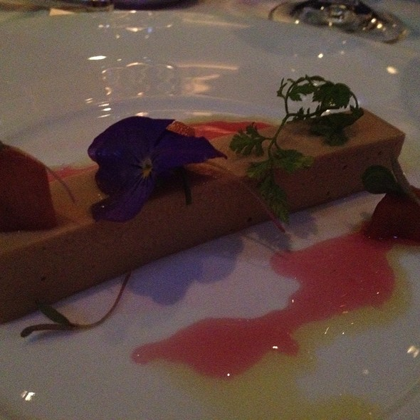 "Hudson Valley Foie Gras ""Royale"" With Pickled Rhubarb And Juice; Angelica, Toasted Brioche And Purslane @ L'Espalier"