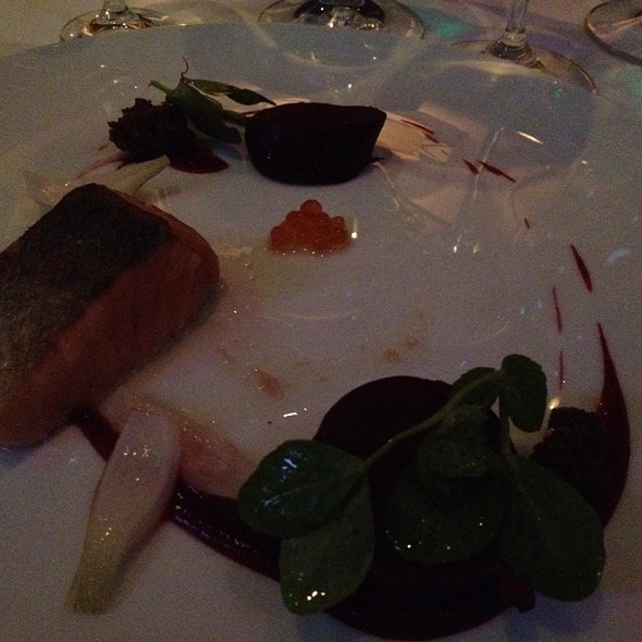 Hot Smoked Alaskan King Salmon With Salt Roasted Beets, Pickled Vidaliita, Foraged Wintergreen, And Pumpernickel @ L'Espalier