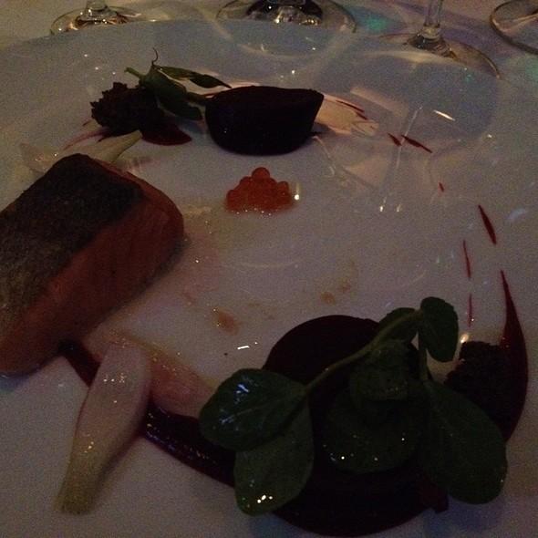 Hot Smoked Alaskan King Salmon With Salt Roasted Beets, Pickled Vidaliita, Foraged Wintergreen, And Pumpernickel @ L'Espalier