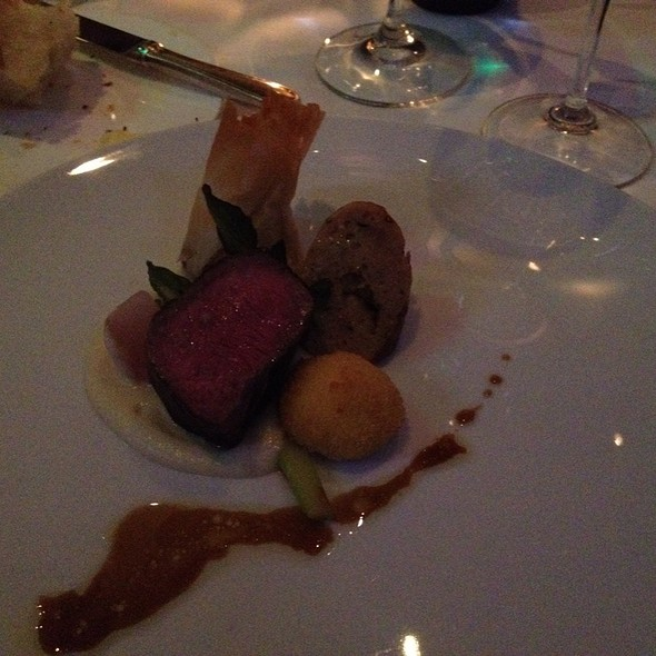 Tasting Of Spring Lamb With Asparagus, Fiddlesheads, Fennel Puree, Goat Cheese Croquette, Natural Vinaigrette @ L'Espalier