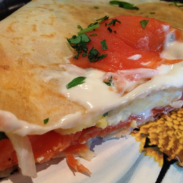 Canuck Crepe With Smoked Salmon And Sour Cream.  @ Doux Cafe