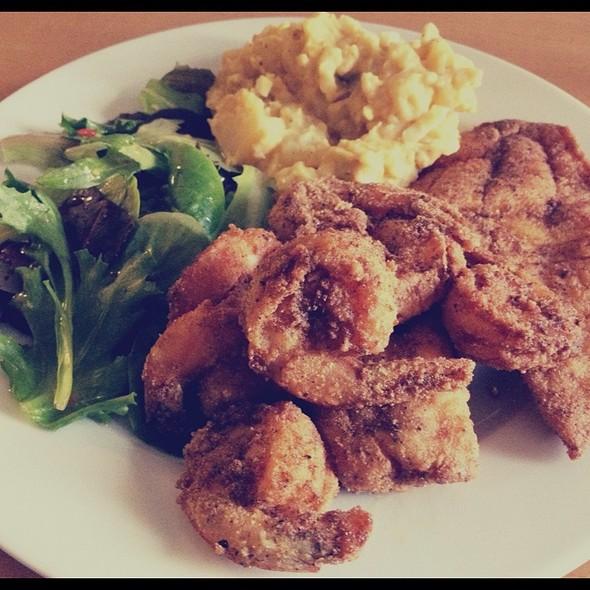 Fried Tilapia & Shrimp, Potato Salad & Green Salad @ Adrienne's