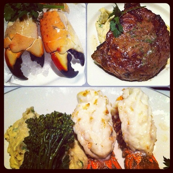 Stone Crab Claws, Angus Ribeye, And South African Lobster Tail @ Trulucks' Seafood Steak & Crab House