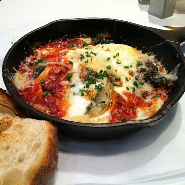 Baked Eggs With Spinach, Tomato Sauce, Parmigiano Reggiano, Chives And Toasted Bread @ Crust