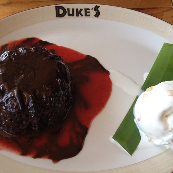Molten Lava Cake With Macadamia Nut Icecream @ Duke's Malibu