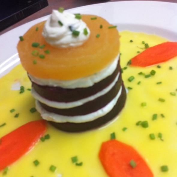 Beet And Goat Cheese Napoleon With Yellow Tomato Vinaigrette - Zazou Restaurant, Redondo Beach, CA