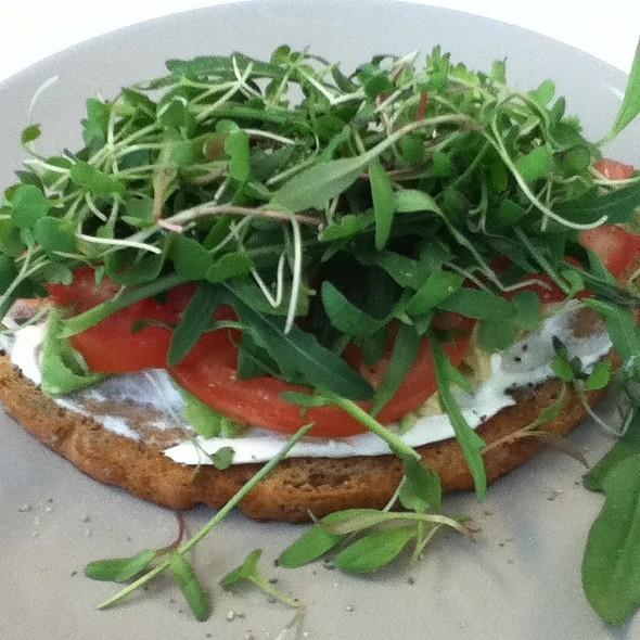 Cottage Cheese, Avo, Rocket & Microgreens On Rye @ Habari Kitchen