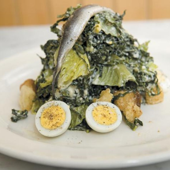 Kale Caesar Salad with Quail Egg @ The Purple Pig