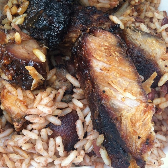 Jerk Pork With Sweet Sauce Over Rice & Beans @ Tropical Jerk