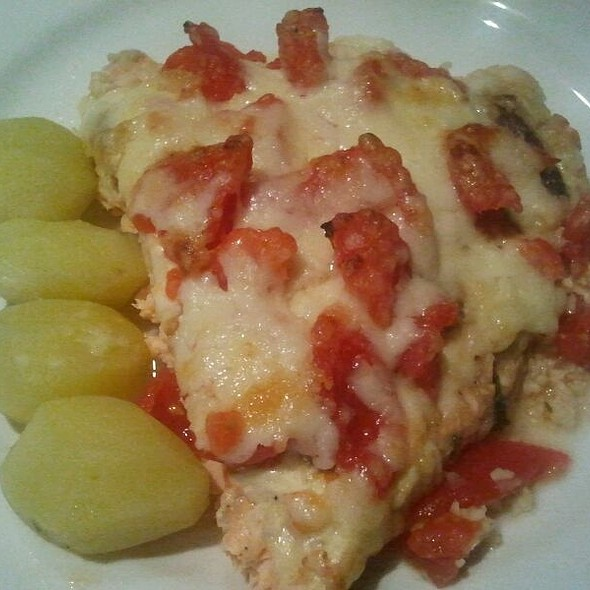 Baked Salmon Fillet Crusted Cheese and Steamed Potatoes @ Mi Casa. My Home