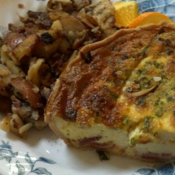 Roasted mushroom, roasted tomato, bacon and brie quiche. @ The Lederach Tea Room