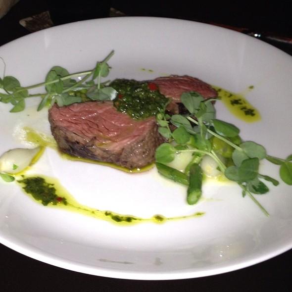 Strip Steak, Yukon Gold Potato, Asparagus, Ramp Salsa Verde, Smoke @ Sepia