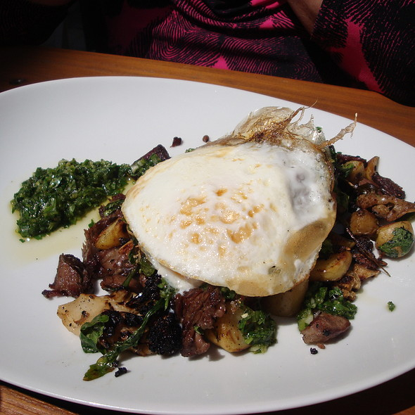 Brunch: Lamb neck hash, cauliflower, arugula, potato confit, ramp chimichurri. - Red Door, Chicago, IL