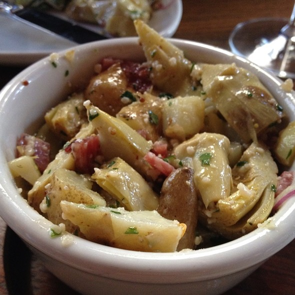 Braised Baby Artichokes, Fingerling Potatoes, Asiago & Salami Toscana  @ The Purple Pig