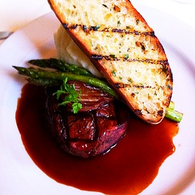 Grilled Beef Tenderloin, Bordelaise Sauce, Asparagus & Horseradish Whipped Potato.