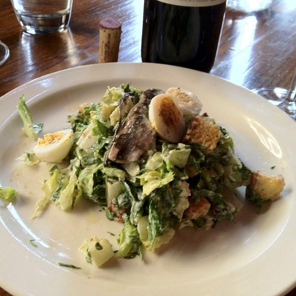 Spinach & Romaine Caesar Salad With Hard Boiled Quail Egg & House Cured Anchovies @ The Purple Pig