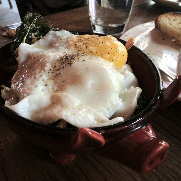 Pig's Ear with Crispy Kale, Pickled Cherry Peppers & Fried Egg @ The Purple Pig